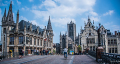 2018 - Belgium - Gent - St Michael's Bridge (Ted's photos - For Me & You) Tags: 2018 belgium cropped ghent nikon nikond750 nikonfx tedmcgrath tedsphotos vignetting stmichael'sbridge stmichael'sbridgeghent sintmichielshelling sintmichielshellingghent stnicholas'church stnicholas'churchghent sintniklaaskirk sintniklaaskirkghent belfryofghent stbavo'scathedral stbavo'scathedralghent bike biker bicycle railing people peopleandpaths pathsandpeople streetscene street