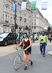 Oxford Circus Cyclists (Waterford_Man) Tags: cyclist bikes girl shorts people path london candid