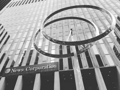 """""""Annular Eclipse"""" by George Rickey, two wind powered 35' high stainless steel rings installed by Rupert Murdoch in front of News Corporation's #nyc HQ in #midtown #manhattan #ny (at 1211 Avenue of the Americas) https://ift.tt/2xsyXFj (freenycpics) Tags: nyc ny"""