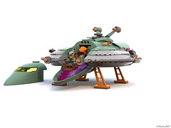 18 RETRO SPACE HERO'S SPACESHIP - Landing Gears and Ramp Down and Front Opened (Nuno_0937) Tags: lego ideas classic space spaceship ship moc retro hero minifigure