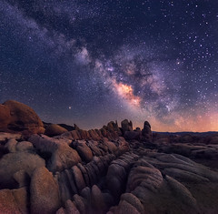 Path in the sky (Saptashaw Chakraborty) Tags: usa arizona joshuatree summer joshuatreenationalpark nationalpark panorama vertorama vertical nikon d800 142428 landscape nature rocks canyon rugged barren night sky milkyway nightscape galaxy