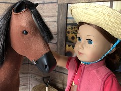 4. Saige and her horse (Foxy Belle) Tags: doll horse american girl barn dollhouse 14 18 inch ag wooden hay miniature diorama scene room penny saige cowboy straw hat