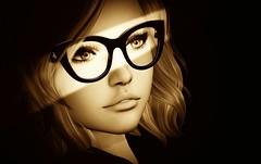 The Eyes Tell All (iyziebel Resident) Tags: akeruka glasses spotlight sepia women womenofsl secondlife sl slphotography slphotographer womeninglasses monotones monotoned virtualwomen truthhair