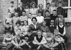 Class photo (theirhistory) Tags: boy children kid girl trousers jumper shoes wellies boots teacher