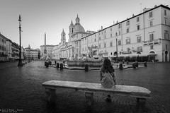 Piazza Navona, Rome - Italy (Dennis van Dijk) Tags: piazza navona rome italia italy travel blackandwhite black white morning fountain famous cityscape city sight sightseeing view girl alone silent quiet