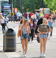 Marble Arch Girls (Waterford_Man) Tags: girls summer shorts bare london hot candid street people path