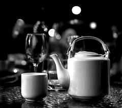 Green Tea (Wanda Amos@Old Bar) Tags: food greentea teapot bokeh wandaamos drinks 7dwf depthoffield night crazytuesdaytheme composition monochrome blackandwhite stilllife