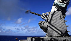 """Sailors aboard the USS Wasp conduct a live fire training exercise in the Philippine Sea (#PACOM) Tags: """"usindopacificcommand usindopacom"""" usswasp sailors usswasplhd1 philippine japan jpn"""