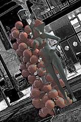 Naked Grapes (beelzebub2011) Tags: usa oregon portland artwork sculpture multipleexposure selectivecolor