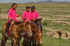 Dressed for Naadam (NettyA) Tags: asia mongolia naadam children horses ridinghorse siblings throughvehiclewindow landscape