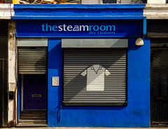The Steam Room (Steve Taylor (Photography)) Tags: thesteamroom drycleaners shirt iron architecture advert design shop blue uk england london camden gb greatbritain haggerston 230kingslandroad