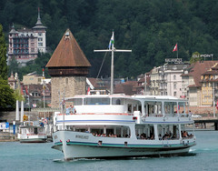 Lake Lucerne Navigation Company, SGV, Switzerland - MS Winkelried built in 1963 leaves the quay at Lucerne with the 10.38 sailing to Alpnachstad on the 10th July 2018 (trained_4_life) Tags: switzerland lucerne luzern lakelucerne sgv mswinkelried ferry ship boat