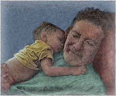 'Asleep: Grandad With Grandbaby' (pdw's atelier) Tags: child kinder children baby toddler son grandson grandchild grandbaby sweet darling portrait cute thefutureis empowered youth feisty art artwork artist sketch pencil pen charcoal draw paint painting ink original watercolor shiloh