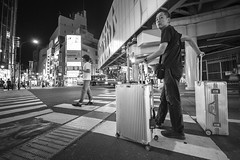 HARD CASE (ajpscs) Tags: ©ajpscs ajpscs japan nippon 日本 japanese 東京 tokyo city people ニコン nikon d750 tokyostreetphotography streetphotography street seasonchange summer natsu なつ 夏 2018 shitamachi night nightshot tokyonight nightphotography tokyoinsomnia nightview feeltheearth lowangleview lowangleshot dayfadesandnightcomesalive strangers urbannight attheendoftheday urban othersideoftokyo walksoflife tokyoscene anotherday streetoftokyo monochromatic grayscale monokuro blackwhite blkwht bw blancoynegro blackandwhite monochrome hardsuitcase