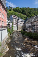 Old (music_man800) Tags: monschau town city urban village germany deutschland de roadtrip road trip holiday break june 2018 sunny summer day warm hot weather river blue sky green trees castle ruins old vintage buildings timber framed rickety wonky bent rapids whitewater houses restaurant view scene bridge pretty quaint timbered scenery scenic beautiful portrait canon 700d adobe lightroom creative cloud edit phtography scaffold