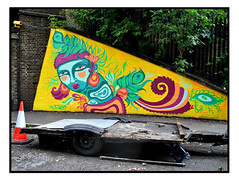 STREET ART by ELNO (StockCarPete) Tags: elno streetart londonstreetart urbanart graffiti london uk trafficcone pavement
