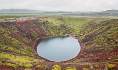 An Eye of Dragon (Alex Demich) Tags: volcano crater lake iceland landscape nature panorama outdoor water sky clouds stones moss tourism travel adventures green red gray blue