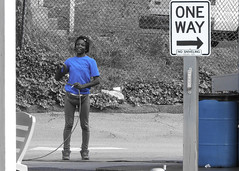 Androgynous Carwash worker (swampzoid) Tags: carwash employee working work atlanta cheshirebridge st black blue color select lone person smoker cigarett africanamerican tshirt hose job worker woman butch dike lesbian smiling face happy equipment gear candid