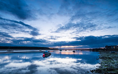 Same Night, Different Sky (Stoates-Findhorn) Tags: 2018 findhorn bluehour scotland sunset firth twilight reflections sky moray boats bay sea clouds