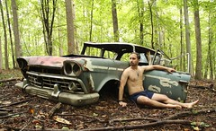 Rambler (seventh_sense) Tags: forest woods outdoor outdoors rain rainy afternoon nude model male man figure car automobile abandoned deserted derelict rust metal rusted rusty weathered bare portrait study tree trees leaf leaves summer hike nature natural