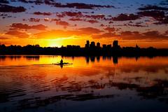 Sloan's Lake Sunrise - Denver, Colorado (Bernie Duhamel) Tags: sloanslake reflection sunshine sun sunrise cityscape city denver colorado frontrange greatphotographers teamsony rockymountains bernie duhamel sonya7riii sony2470mm clouds water rowing mountains morning silhouette