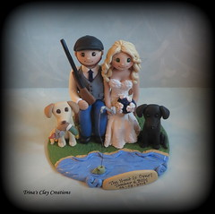 Hunting and Fishing Theme Wedding Cake Topper (Trina's Clay Creations) Tags: art sculpture clayfigure weddingcaketopper wedding whimsical weddingcake weddingdecor caketopper customcaketopper claycaketopper trinasclaycreations trinaprenzi topper polymerclay personalized brideandgroom groomscake fishing hunting thehuntisover duckhunting gun yellowlab blacklab