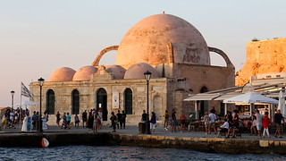 Mosque of the Janissaries, Chania Harbour, (Old Venetian Harbour), Crete, Greece.
