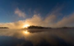 'Morning Story' (Canadapt) Tags: morning sunrise sun mist fog island shoreline flare reflection keefer canadapt