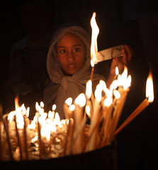 Have a Happy New Jewish Year! (ybiberman) Tags: israel jerusalem oldcity alquds christianquarter churchoftheholysepulchre girl people candles fire veil earring portrait candid streetphotography