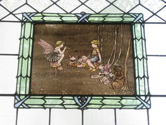 The Picture Panel of the Fourth Ida Rentoul Outhwaite Stained Glass Children's Library Window - George Street, Fitzroy (raaen99) Tags: idarentoulouthwaite idarentoul idaouthwaite artist childrensbookillustrator illustrator 1926 1920s painter idarentoulouthwaitestainedglasswindows idarentoulouthwaitestainedglass library fitzroychildrenslibrary stmarkschildrenslibrary readingroom stmarktheevangelistchildrenslibrary handpainted childrensliterature fairytale fairytales childrensstory childrensstories australianliterature australianchildrensliterature fairy fairies faerie faeries elves elf story australianfairystory australianartist australianillustrator australianchildrensillustrator illustration elvesandfairies elvesfairies fairyland bookillustrator bookillustration literature childhood stainedglass stainedglasswindow window stmarktheevangelist stmarks stmarksfitzroy stmarksanglican churchofengland anglicanchurch anglican fitzroychurch fitzroy georgest georgestreet church placeofworship religion religiousbuilding religious melbourne