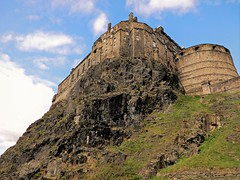 A Long Up (Clare-White) Tags: castle scotland rock stone lookingup edinburghcastle architecture outside clouds blue sunny light nikon historic old high