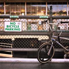 NO BIKES (Chris Blakeley) Tags: seattle hipstamatic pikeplacemarket bicycle bike