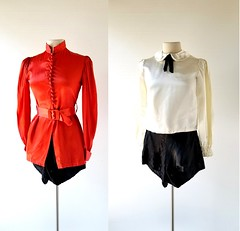 1940s satin burlesque/dance outfit (Small Earth Vintage) Tags: smallearthvintage vintageclothing vintagefashion burlesqueoutfit 1940s 40s danceoutfit satin black orange white shorts