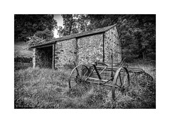 Redundancy and abandonment (andyrousephotography2) Tags: malhamtrail malham janetsfoss landscapes buildings barn outbuilding trees meadow flowers grass agriculture agricultural equipment rust rusting redundant redundancy abandoned mono monochrome blackandwhite