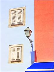 summertime...blue, orange (claredlgm1) Tags: blue orange summertime lamps street detail windows white closed geometric shadow wall house