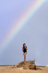 Dina Reyes at the dunes (Mitch Tillison Photography) Tags: beautiful stunning gorgeous lovely amazing swimsuit model dunes rainbow brunette nikon mitchtillison photo photography shoot nature serendipity fashion d810 nikkor 200500