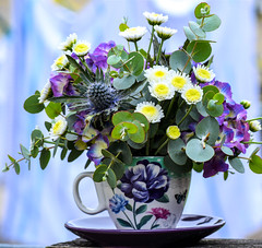 .... (Harry McGregor) Tags: flowers teacup arrangement bouquet vase nikon d3300 harrymcgregor 20 august 2018