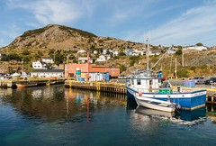 Portugal Cove (Karen_Chappell) Tags: portugalcove scenery scenic landscape boat rural nfld newfoundland canada atlanticcanada avalonpeninsula reflection harbour ocean sea fishing blue green orange outport