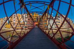 Eiffel bridge in Girona (alxfink) Tags: architecture houses building bridge eiffel girona catalunya spain colour lumix onyar