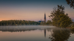 Amstelveen - a misty sunrise by the lake (Toon E) Tags: 2018 holland netherlands nederland amsterdam amstelveenlake church mist fog trees water outdoor sony a7rii sonyfe16350mmf4