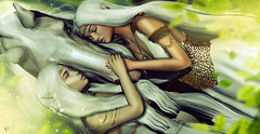 Listen the soul (meriluu17) Tags: elven elf elfs horse pet animal soul forest woods green fantasy surreal miracle sisters magical people