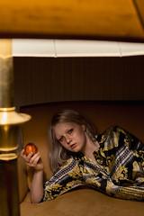 peachy victory (fullmoonpills) Tags: peach versace portrait indoor lowlight victorian bleachedeyebrows