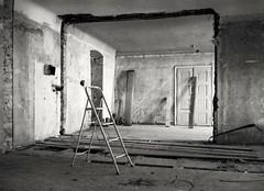 Under Construction (Diaffi) Tags: underconstruction lostplaces analog zeissikonzm zeisscbiogont2828zm selfdeveloped house ladder walls ishootfilm ilfordfp4expired2012 developedinadoxaph09for12minat20°c blackandwhite decayed tagdesoffenendenkmals görlitz