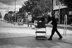 Trolley Dash (gwpics) Tags: man trolley british greatbritain streetphotography people southampton mono uk english britain editorial england everydaylife hampshire hants lifestyle male men monochrome person socialcomment socialdocumentary society streetscene streetphotos streetpics unitedkingdom bw blackwhite blackandwhite street streetlife