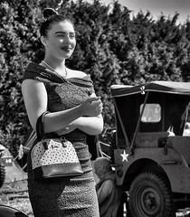 1940s beauty near american jeep b&w (Mallybee) Tags: dcg9 g9 lumix panasonic women beauty bw blackwhite 1940s mallybee m43 mirrorless 1235mm f28 jeep american british young