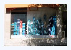 stacks (overthemoon) Tags: switzerland suisse schweiz romandie vaud vevey frame placescanavin shoeshop window shadows graffiti tag boxes stacks piles
