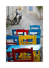 Red Yellow & Blue (CJS*64) Tags: cjs64 craigsunter cjs skiathos greece europe travel traveling colour colours chairs table red yellow blue seats dine dinning nikond7000 nikon d7000