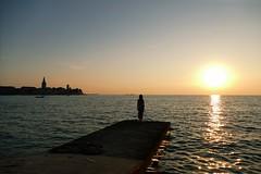 watching the sunset in Poreč (nelesch14) Tags: sunset silhouette poreč summer nature travel light gold ocean water sky clouds