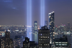 New York City | 2018 Tribute in Light 02 (Christopher James Botham) Tags: nyc newyork newyorkcity manhattan lowermanhattan financialdistrict fidi skyline urban architecture building tower art tribute 911 sept11 september11 night lowlight wideangle superwideangle canon 20exchange 20exchangeplace aerial city sky water skyscraper