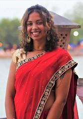 Emma at Ganga Concert (Scott RS) Tags: portrait classicconcert india ganga sari beautifulwoman elegant tan skin smile gorgeous pretty kind ganges tender fun funny sparkle twinkle joy jubilation energy engaging tattoo curls red earrings necklace warm